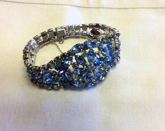 Blue rhinestone bracelet