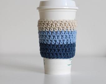 Ombre blue coffee cozy, pastel blue coffee cozy, coffee cup sleeve, coffee cup cozy, vegan, cotton coffee cozy, soft gunge, navy coffee cozy