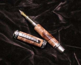 Maple Burl and Bark fountain pen