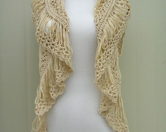 Crochet Open Cardigan /Crochet Ruffle Scarf/Ruffle Top/ Two in One Piece