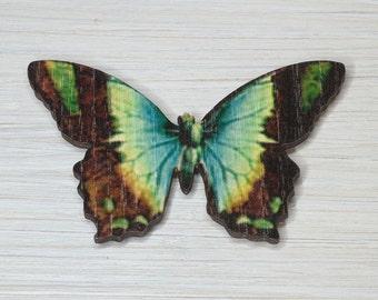 Butterfly Brooch, Laser cut Wood, Green