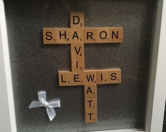 Personalised handmade scrabble art frame