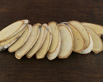 "50 Oval Birch Wood Slices, Oval Natural Birch Wood Slices, 8 - 13cm or 3""- 5"" long, Oval Birch Wood"