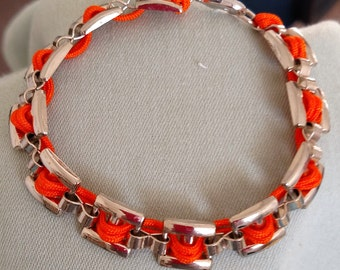Silver Plated Bracelet with Orange Nylon Cord Accent