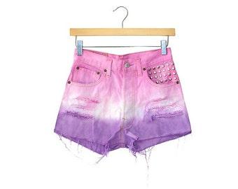 Dip Dye Tie Dye Ombre Studded Customised Denim Shorts