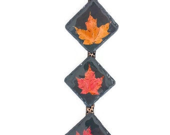 Slate Maple Leaf Wall Hanging - Real Maple Leaves