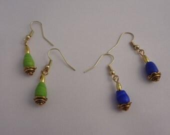 Drop Earrings - Blue or Green // Dangle Earrings