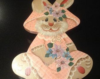 Wooden folk art Easter Bunny folk art