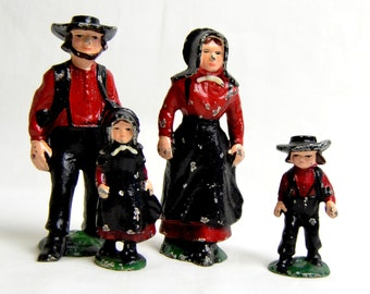 vintage primitive cast iron amish figurines, amish collectibles, amish dolls, antique amish dolls