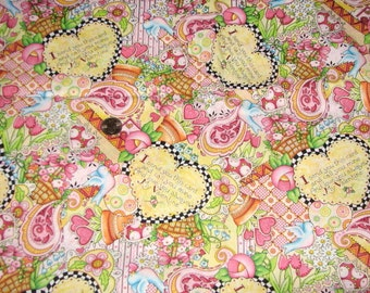 Mary Engelbreit Valentines Day I Send You This Card Hearts Pink Cotton Print 2 Yds