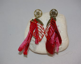 Bohemian, bronze and Red earrings