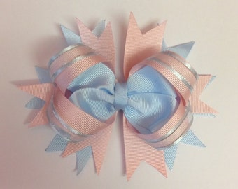 Pink and blue grosgrain ribbon stacked hair bow toddler hair bow kids hair bow children's hair bow teens hair bow hair accessories