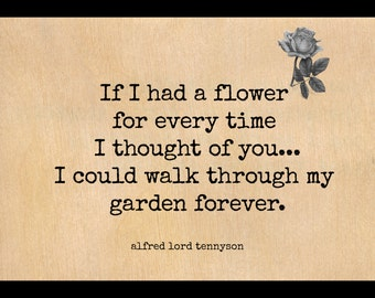 Alfred Lord Tennyson Quote / Love Quote / Real Wood Quote Card / Free Shipping