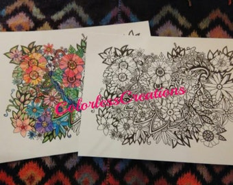 Adult Coloring Page for Relaxation - Hand Drawn Flowers