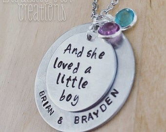 Mom necklace, mothers necklace, washer necklace, son necklace, mommy necklace, Mom Christmas Gift, birthstone necklace