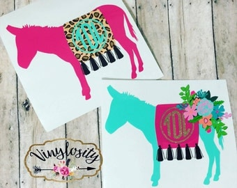 Burro Monogram Decal | Floral Donkey Monogram Decal | Donkey Decal | Yeti Decal | Car Decal | Laptop Decal | Monogram Decal