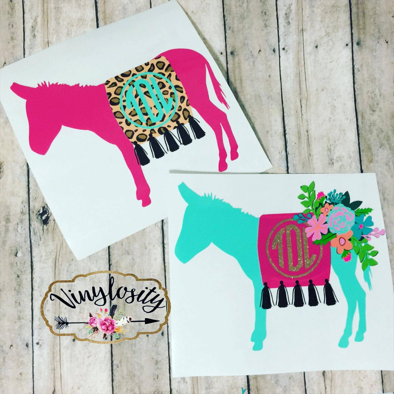 Shop Floral Monograms At Littlebrownnest Etsy Com: Burro Monogram Decal Floral Donkey Monogram Decal Donkey