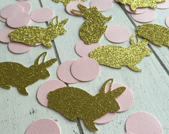 Pink and gold bunny confetti. 50 units. Gold glitter confetti. First birthday party. 1st birthday girl.