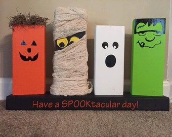 Wooden Halloween Decor: Pumpkin; Mummy; Ghost; Frankestin