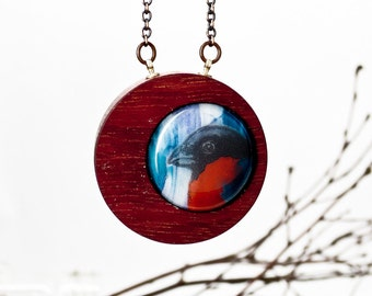 Rose-Breasted Grosbeak - Glass and Wood - Woodlands Necklace
