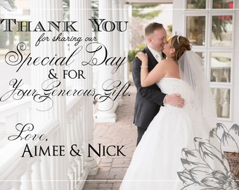 Custom Photo Wedding Thank You Card - set of 25