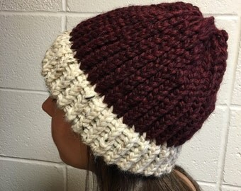 Two toned maroon and white beanie