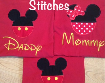 Adult and Children's Appliqued Mickey or Minnie Shirt