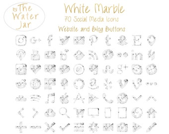 Website Buttons, Marble Social Media Icons in White Marble Finish.  Commercial Use, White Marble Social Icons, Website Graphics, Blog Design