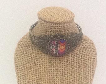 Arrow/Tribal Pattern 25mm Cabochon Antique Brass Filigree & Cuff Bracelet