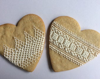 Lace Heart Cookies (Set of 2)