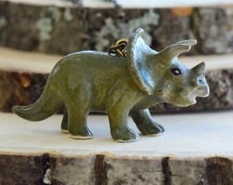 Hand Painted Porcelain Triceratops Necklace, Antique Bronze Chain, Vintage Style Dinosaur, Ceramic Animal Pendant & Chain (CA081)