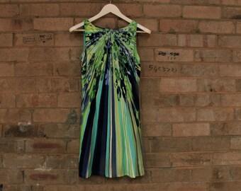 60's psychedelic mini dress, morrissey australia, lime green, 90's mini dress