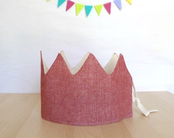 Crown, red, fabric, disguise, reversible, birthday, celebration, child gift