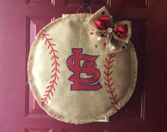 Cardinals Burlap Door Hanger