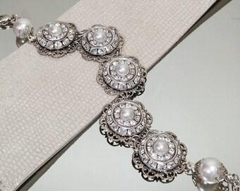 Bridal Jewelry, Vintage style bracelet, Wedding Jewelry, Antique Jewelry, Antique Wedding Bracelet, Bridal bracelet, Bridal Sets, Bridesmaid