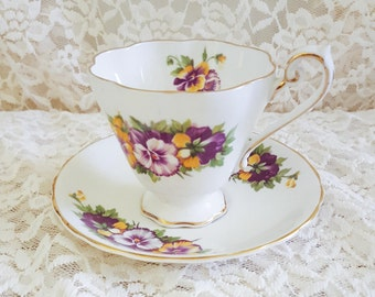 Antique Tea Cup with Gold Trim and Floral Design
