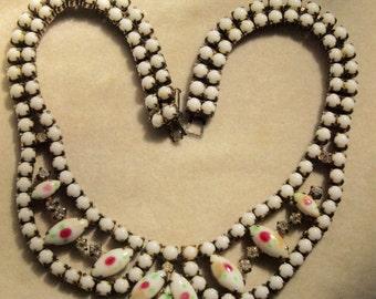 White Rhinestone Bib Necklace