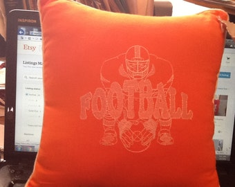Football Player  Embroidered Pillow