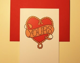 """Digitally Illustrated Tattooed Greetings Card - """"Yours"""""""