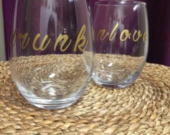 Set of Stemless custom personalized wine glasses