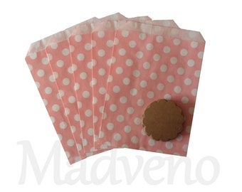 Lot of 10 paper bags pink polka dot