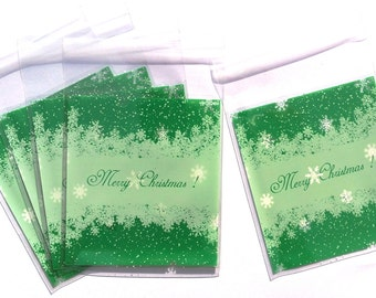 "SALE - 20% batch of 25 bags transparent green ""Merry Christmas"""