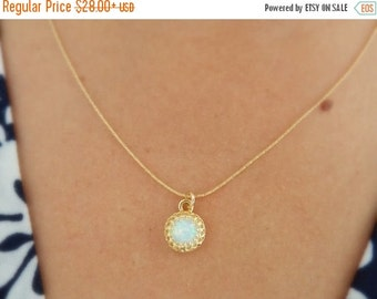 ON SALE White Opal Gold Filled Necklacae - Opal Jewelry - Gold filled chain - OPAL Necklace - Crown Setting - October Birthday - Crown Bezel