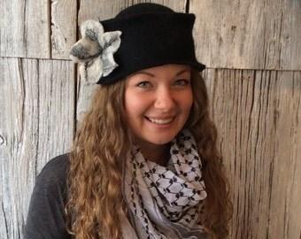 Felt hat, wet felted hat, black hat, bucket hat, cloche, black cloche, black and white hat, felt hat for women, felt flower - 'Smudge'