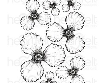 Heartfelt Creations Blazing Poppy Petals Stamp - Cling Stamp - Poppy Petals Stamp Set - Blazing Poppy Stamp Set  - Blazing Poppy Stamps