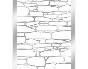 Stampendous Stone Background Stencil - Metal Stone Stencil - Dreamweaver Metal Stone Stencil - Background Stencil - Stone Background Stencil