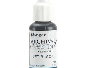 Archival Ink Re-inker JET BLACK - Ranger Archival Ink - Archival Ink Pad ReInker - Black Archival Ink Refill - Ranger Ink Refill - 13-030
