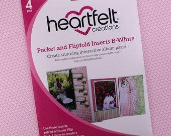 Heartfelt Creations Flip Fold Pockets and Inserts Set B in White - White Mini Album Pockets - White Flip Fold Pockets & Inserts Set B