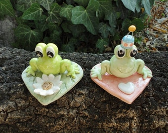 Two funny ceramic frogs- handmade ceramic frogs- gift idea