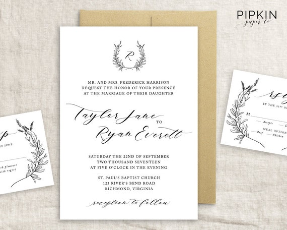How Long Before Your Wedding Should You Send Out Invitations: Printable Wedding Invitation Made To Order Header Script